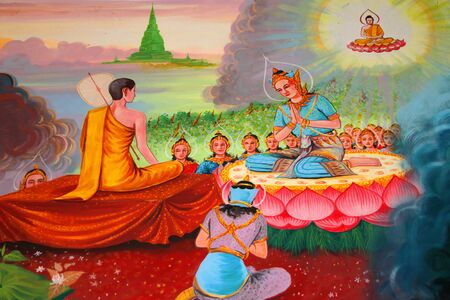 Buddha's biography painting on wall of temple, Wat Kud Sui, Mahasarakham, Thailand Stock Photo - 14628614