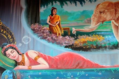 biography: Buddhas biography painting on wall of temple, Wat Kud Sui, Mahasarakham, Thailand