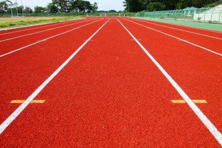 Running tracks of athletics in central public stadium, Mahasarakham, Thailand Editorial