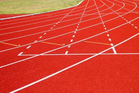 Running tracks of athletics in central public stadium, Mahasarakham, Thailand