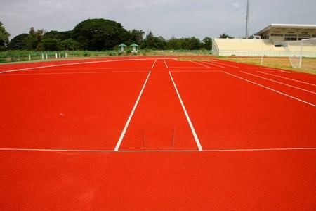 Line marking tracks of athletics in central public stadium, Mahasarakham, Thailand