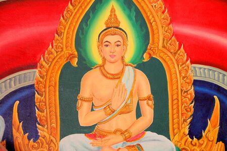 Buddhas biography painting on wall of temple, Wat Pa Samoson, Mahasarakham, Thailand
