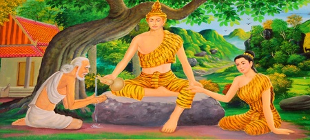 Buddha's biography painting on wall of temple, Wat Pa Samoson, Mahasarakham, Thailand Stock Photo - 14681470