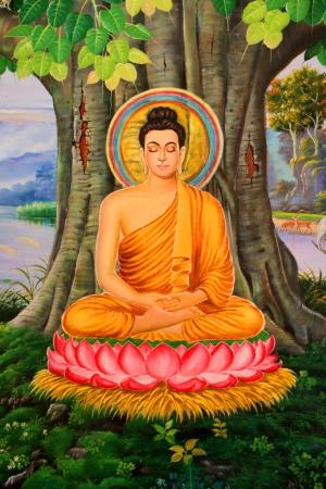 Pintura biografía de Buda en la pared del templo, Wat Pa Samoson, Mahasarakham, Tailandia