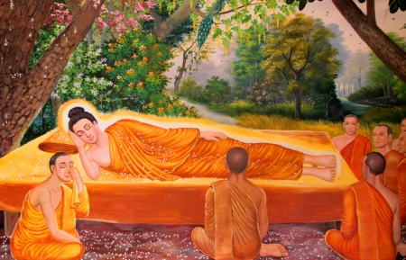 Buddhas biography painting on wall of temple, Wat Pa Samoson, Mahasarakham, Thailand