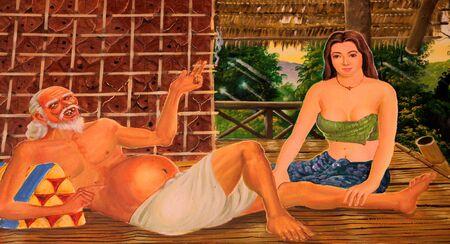 Buddha's biography painting on wall of temple, Wat Pa Samoson, Mahasarakham, Thailand Stock Photo - 14681474