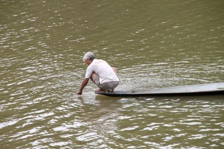 MUANG, MAHASARAKHAM - APRIL 7 : Unidentified fisherman is at career work on April 7, 2012 at Chee river, Khong Kud Whai village, Muang, Mahasarakham, Thailand.