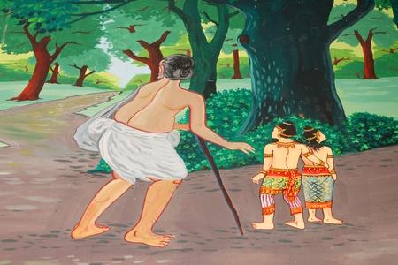 Vessantara, the tenth Bodhisattva, story of the Buddha in his tenth existence mural painting on wall of temple at Wat Suwannavat,Nong Jik village, Muang, Mahasarakham, Thailand Stock Photo - 14816280