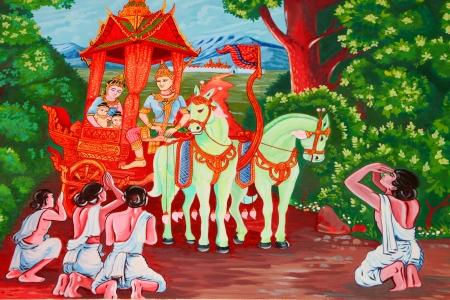 Vessantara, the tenth Bodhisattva, story of the Buddha in his tenth existence mural painting on wall of temple at Wat Suwannavat,Nong Jik village, Muang, Mahasarakham, Thailand