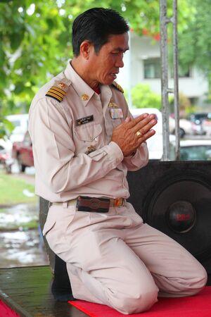 headman: MUANG, MAHASARAKHAM - AUGUST 10 : Unidentified man is making religious ceremony of Village Headman establishment Day on August 10, 2012 at City plaza, Muang, Mahasarakham, Thailand