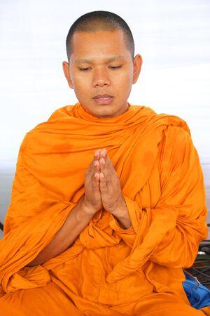 establishment: MUANG, MAHASARAKHAM - AUGUST 10 : Unidentified monk is making religious ceremony of Village Headman establishment Day on August 10, 2012 at City plaza, Muang, Mahasarakham, Thailand