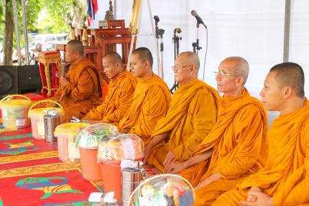 headman: MUANG, MAHASARAKHAM - AUGUST 10 : Unidentified monks are making religious ceremony of Village Headman establishment Day on August 10, 2012 at City plaza, Muang, Mahasarakham, Thailand Editorial
