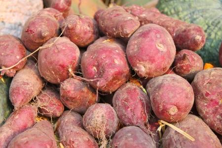 batata: Pila de patatas dulces en el mercado de hortalizas