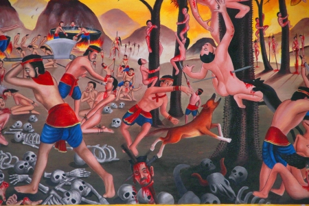 Live in hell - painting on wall of temple, Wat Srathong Teparam, Nong Saeng Village, Kok Kor, Muang, Mahasarakham, Thailand.