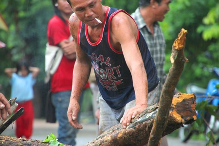 MUANG, MAHASARAKHAM - AUGUST 29 : Unidentified rescue teams are taking trees fallen down after storm damage away from road on August 29, 2012 at Bua Koh Village, Muang, Mahasarakham, Thailand. Stock Photo - 14998231