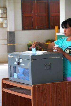 MUANG, MAHASARAKHAM - SEPTEMBER 4 : Unidentified voter is voting village headman on September 4, 2012 at Wat Ban Hin Lat, Tha Song Kon, Muang, Mahasarakham, Thailand. Stock Photo - 15079668