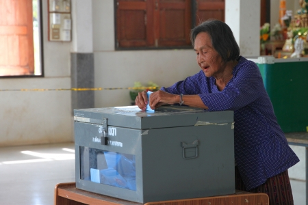 headman: MUANG, MAHASARAKHAM - SEPTEMBER 4 : Unidentified voter is voting village headman on September 4, 2012 at Wat Ban Hin Lat, Tha Song Kon, Muang, Mahasarakham, Thailand. Editorial