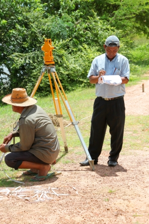 architectural survey: MUANG, MAHASARAKHAM - SEPTEMBER 10 : Unidentified men are surveying location area to build a big dam on September 10, 2012 at local reservoir, Bua Kor, Muang, Mahasarakham, Thailand.