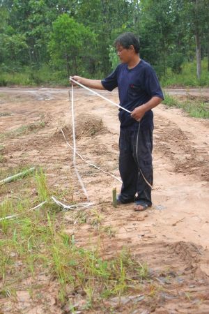 architectural survey: MUANG, MAHASARAKHAM - SEPTEMBER 2 : Unidentified man is surveying location area to build a big dam on September 2, 2012 at local reservoir, Bua Kor, Muang, Mahasarakham, Thailand.