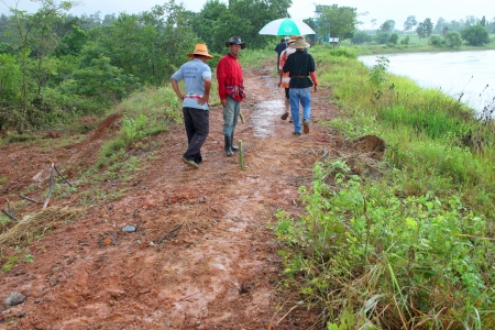 architectural survey: MUANG, MAHASARAKHAM - SEPTEMBER 2 : Unidentified men are surveying location area to build a big dam on September 2, 2012 at local reservoir, Bua Kor, Muang, Mahasarakham, Thailand.
