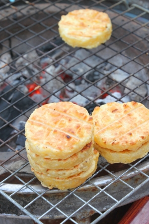 Grilled steamed sticky rice photo