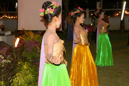 MUANG, MAHASARAKHAM - SEPTEMBER 18 : Unidentified dancers are performing Thai dance in retirement and thank you party on September 18, 2012 at governor