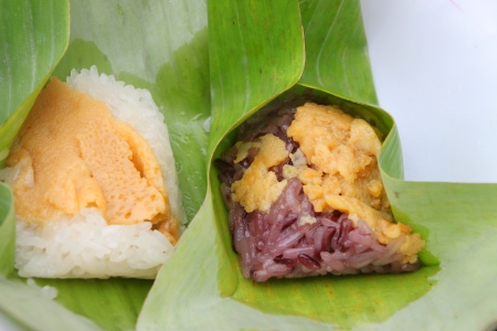 Kao nio sangkhaya, Thai traditional sweetmeat made of steamed sticky rice topping with egg custard photo