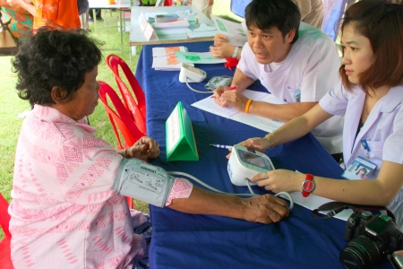 MUANG, MAHASARAKHAM - SEPTEMBER 19 : Unidentified nurses are giving healthcare services in public secter services mobile project on September 19, 2012 at Wat Don Whan, Muang, Mahasarakham, Thailand.