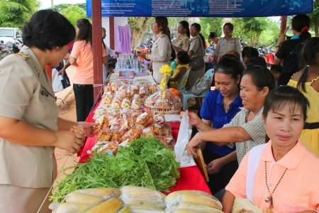 tree service business: MUANG, MAHASARAKHAM - SEPTEMBER 19 : Unidentified women are selling vegetables in public secter services mobile project on September 19, 2012 at Wat Don Whan, Muang, Mahasarakham, Thailand.