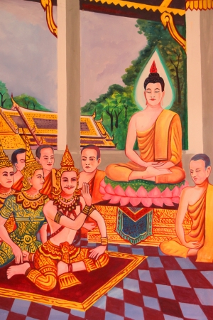 Buddhas biography painting on wall of Wat Non Tae, Tha song Kon, Mahasarakham, Thailand.