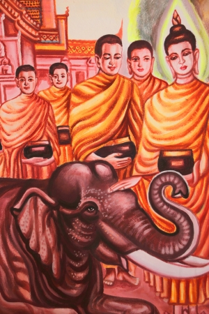 Buddha's biography painting on wall of Wat Non Tae, Tha song Kon, Mahasarakham, Thailand. Stock Photo - 15453216