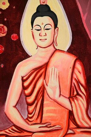 Buddha's biography painting on wall of Wat Non Tae, Tha song Kon, Mahasarakham, Thailand. Stock Photo - 15453214
