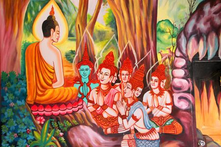 Buddha's biography painting on wall of Wat Non Tae, Tha song Kon, Mahasarakham, Thailand.