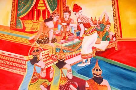Buddha's biography painting on wall of Wat Non Tae, Tha song Kon, Mahasarakham, Thailand. Stock Photo - 15453215