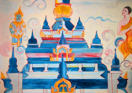 Buddha's biography painting on wall of Buddhist temple Stock Photo - 15546688