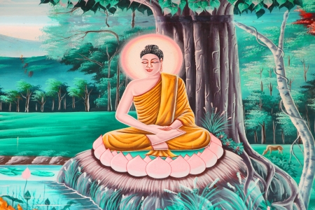 Buddhas biography painting on wall of Buddhist temple