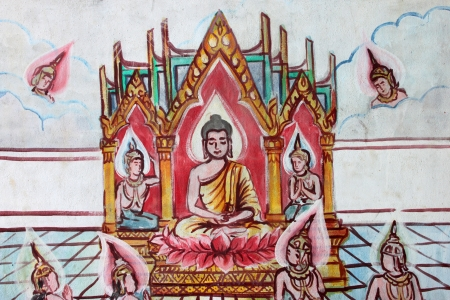 Buddha's biography painting on wall of Buddhist temple