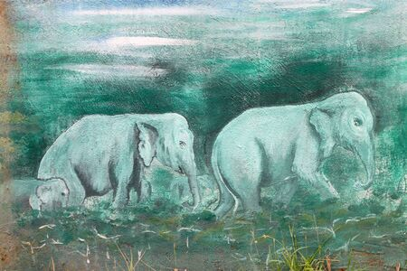 Elephants painting on wall of Buddhist temple Stock Photo - 15546699