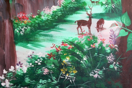 Wild animals painting on wall of Buddhist temple Stock Photo - 15546691