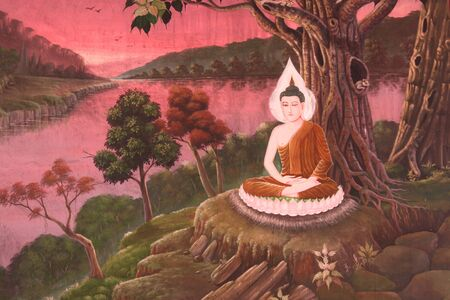 births: Buddha and stories of the former incarnations of the Lord Buddha or tales of the lord Buddhas former births are well known of all buddhist people.This mural is buddha sitting on the haunches or hunker down and in calm in temple of Wat Yang Ku, Roi-et, No