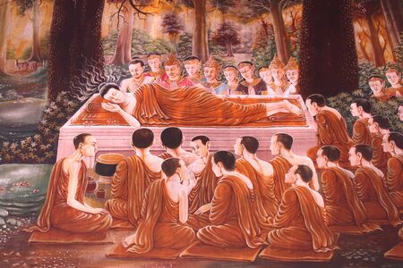 births: Buddha and stories of the former incarnations of the Lord Buddha or tales of the lord Buddhas former births are well known of all buddhist people.This mural is buddha s nirvana in temple of Wat Yang Ku, Roi-et, North-east of Thailand.