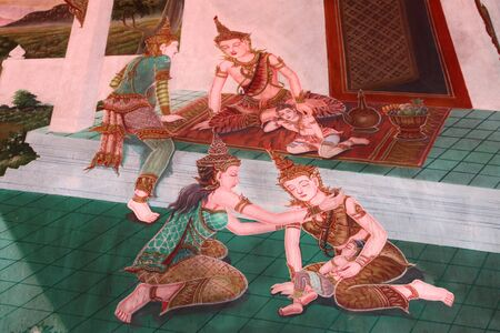 births: Buddha and stories of the former incarnations of the Lord Buddha or tales of the lord Buddhas former births are well known of all buddhist people.This mural is one of buddha s stories in temple of Wat Yang Ku, Roi-et, North-east of Thailand.
