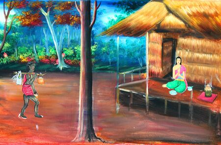 Mural of famous local Thai literature at Wat Ban Yang in Borabue province north-east of Thailand.