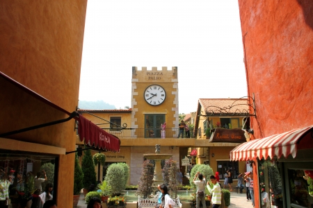 Palio Khao Yai, new Italian style walking street, building decoration, shopping and business center in Korat, Thailand.