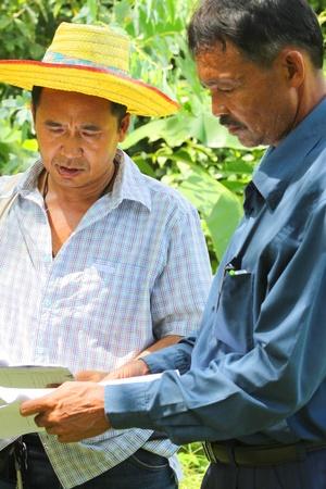 labor relations: MUANG, MAHASARAKHAM - 21 de septiembre: El oficial no identificado se consulta y la exploraci�n de terreno y l�mite el 21 de septiembre de 2012 a las plantaciones rural de Muang, Mahasarakham, Tailandia.