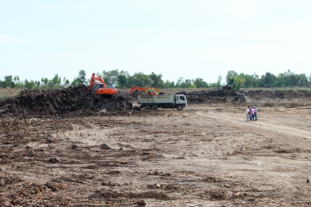 Reservoir construction site public project at Nong Lit-thi, Muang Mahasarakham, Thailand Stock Photo - 16373093