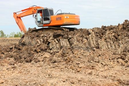 Reservoir construction site public project at Nong Lit-thi, Muang Mahasarakham, Thailand Editorial