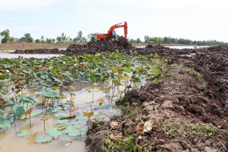 Reservoir construction site public project at Nong Lit-thi, Muang Mahasarakham, Thailand Stock Photo - 16373100