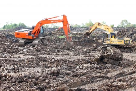 Reservoir construction site public project at Nong Lit-thi, Muang Mahasarakham, Thailand Stock Photo - 16373095