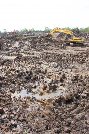 Reservoir construction site public project at Nong Lit-thi, Muang Mahasarakham, Thailand Stock Photo - 16373098